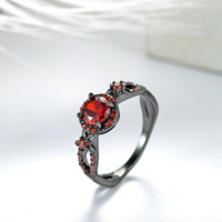 2017 New Vintage Red Garnet Black Gold Filled Red Ring Women Wedding Jewelry Engagement Promise Rings