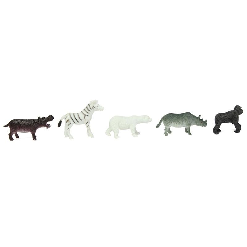 Freeshipping 12pcs Lot Plastic Zoo Animal Figure Tiger Leopard Hippo