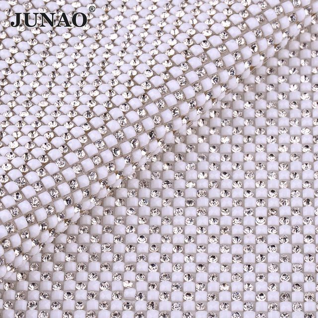 JUNAO 24 40cm Clear White Glass Rhinestone Trim Banding Hotfix Crystal  Fabric Strass Mesh Bridal Beaded Appliques For Crafts b4df3c609eaf