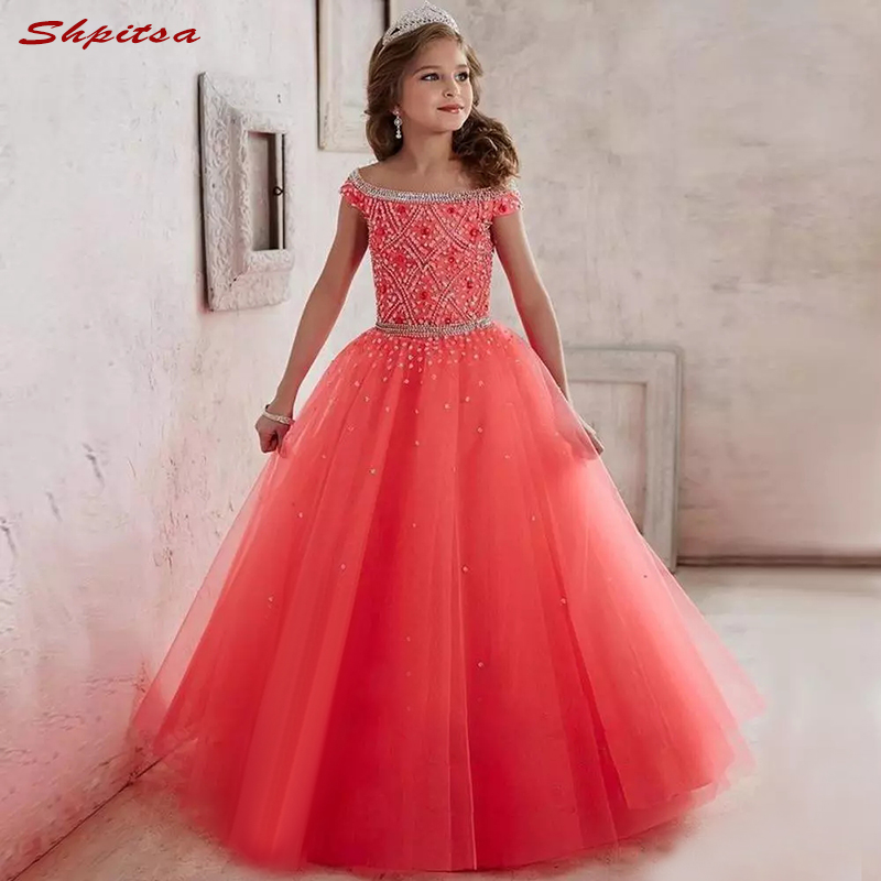 Luxury Crystals   Flower     Girl     Dresses   for Weddings Evening First Communion Pageant   Dresses   for Wedding   Girls   Kid