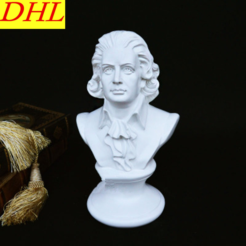 Cute Apollo Statue Figure Wolfgang Amadeus Mozart Bust Gypsum Continental Home Decorations Collectible Colophony Crafts L2120 retro music ludwig van beethoven bust franz joseph haydn statue colophony crafts sketch teaching collectible decorations l2352