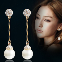 Korean fashion temperament tassel long pearl earring earrings ear jewelry elegant temperament.