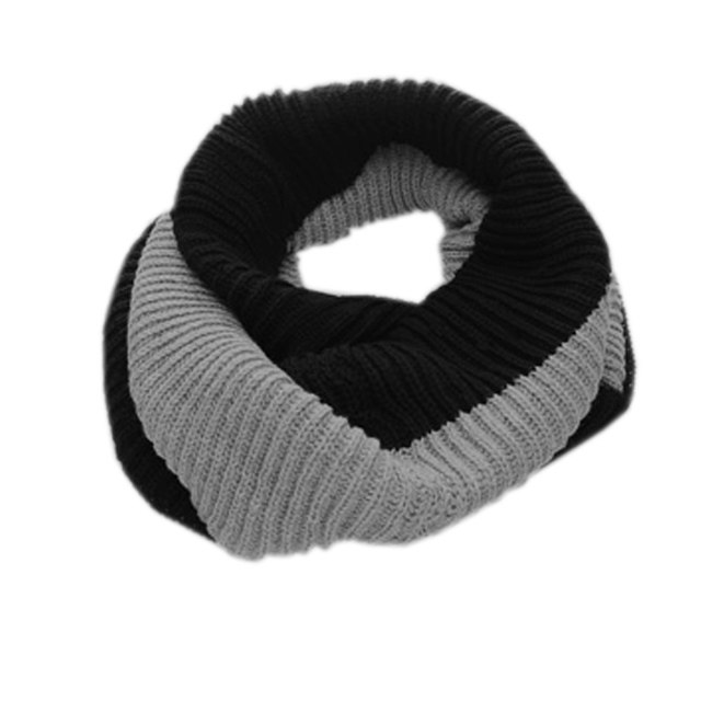 f4608f2cfee 1606-D345 Mens Black Gray Stripe Pattern Ribbed Knitting Patchwork Tube  Scarf Discount 50