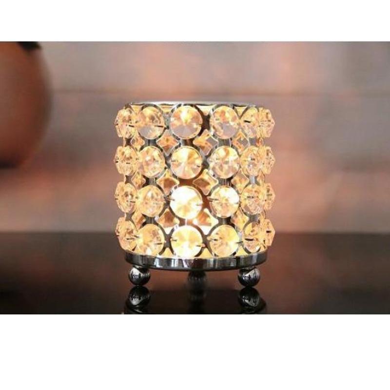3pc / lot Kristalları olan yeni metal şamdan tutacaqlar gümüş - Ev dekoru - Fotoqrafiya 3