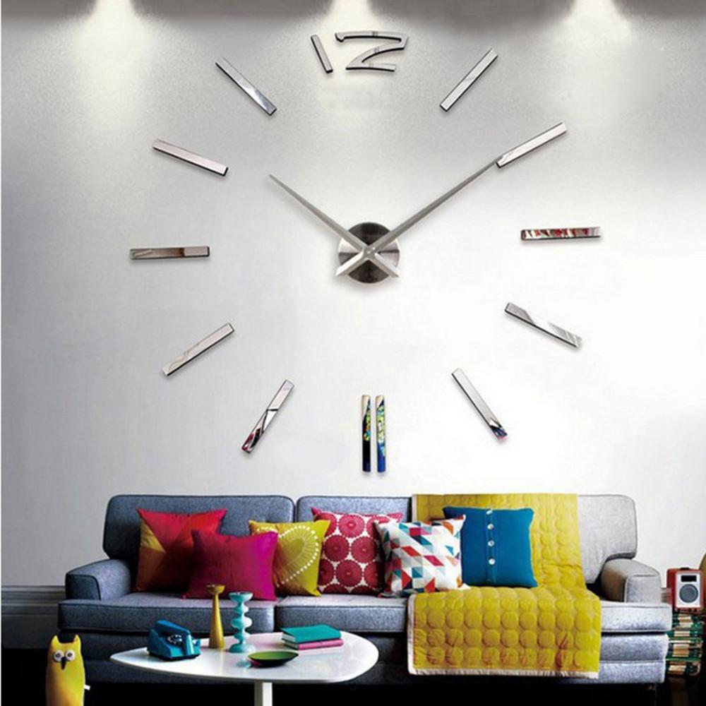 3d real big wall clock rushed mirror sticker diy living room decor ...