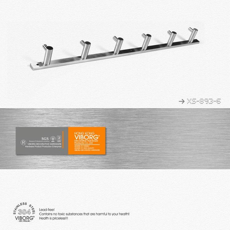 VIBORG (6 hooks) Deluxe Solid 304 Stainless Steel Bathroom Towel Holder Towel Rack Towel Hook Robe Hook Hat Coat Holder Hanger