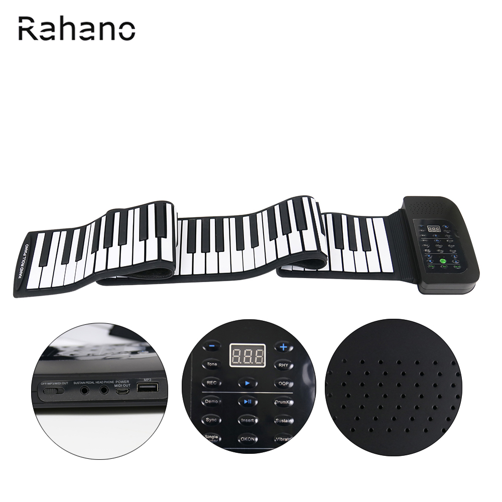Rahano 88 Clé Blanc MIDI Électronique Flexible Roll Up Piano PA88 Avec Batterie