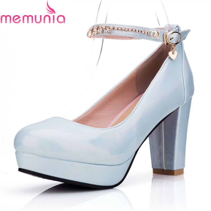 MEMUNIA new hot sale buckle wedding shoes fashion thick high heels round toeplatform concise spring autumn ladies shoes 2015 hot sale new spring autumn women flats sweet bowtie casual fashion ladies wedding shoes