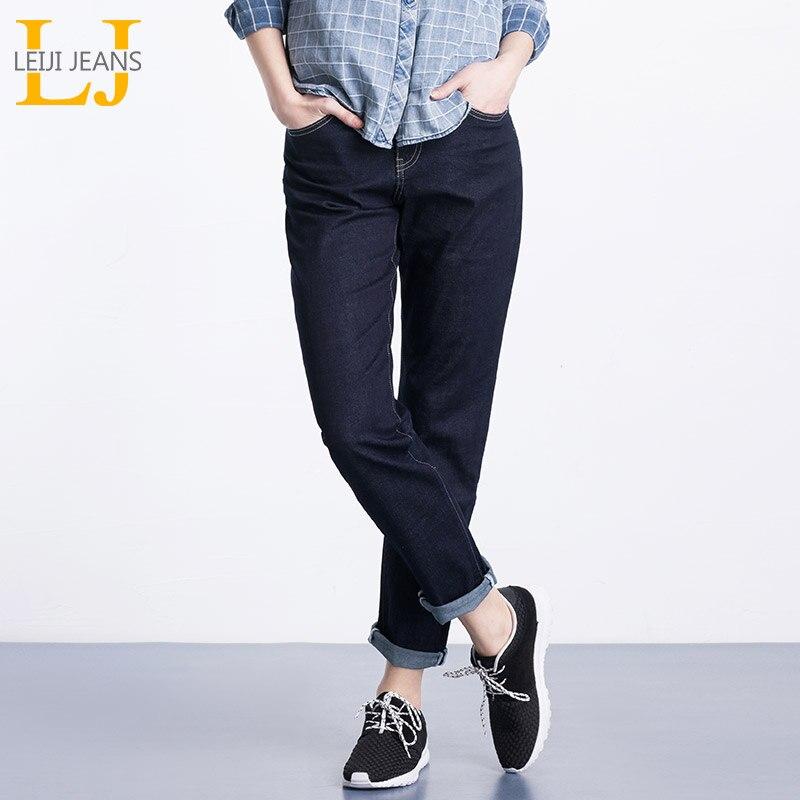 LEIJIJEANS Plus Size S-6XL Prublish Blue Washed Boyfriend Denim Mid Waist Full Length Loose Women Boyfriend Jeans 5242