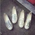 2017 Квартир Женщин выдалбливают Мокасины Летняя Обувь Creepers Обувь Женщина эспадрильи Поскользнуться На Плоские