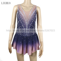 Figure Skating Dress Customized Competition Ice Skating Skirt for Girl Women Gray gradient color Shiny rhinestone