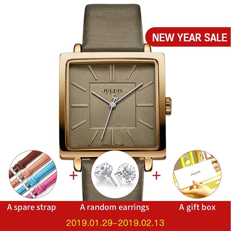 Julius Marke Quarz Uhren Frauen Uhr Gold Quadrat Lederarmband Lässige Mode Whatch Damen Günstige Promotion Uhren JA-354