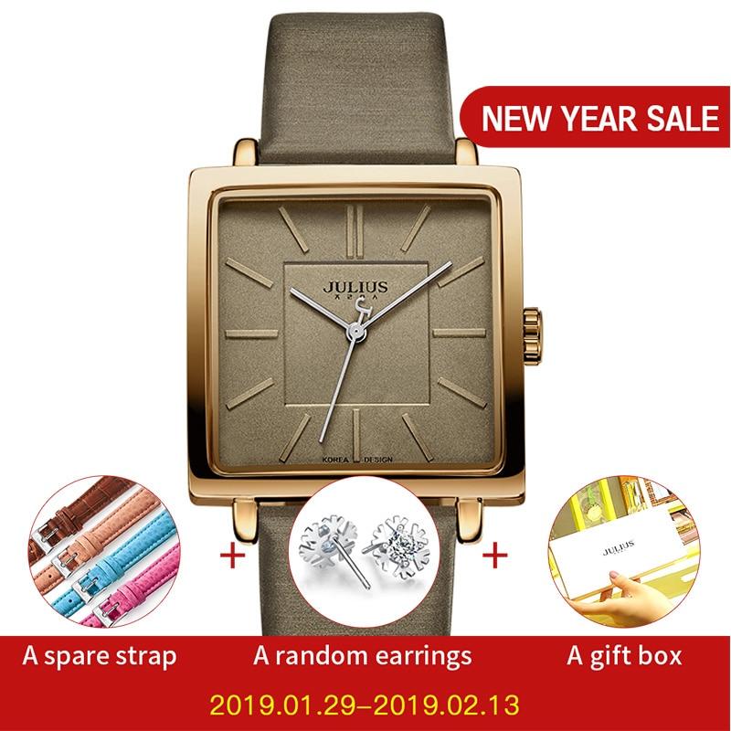Julius merk quartz horloges dames klok goud vierkant lederen armband casual mode Whatch dames goedkope promotie Relojes JA-354