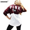 Fashion Women Autumn Sweatshirt Collision Color Printing Letter PINK Ladies Casual Sweatshirts Sudaderas Mujer 2017