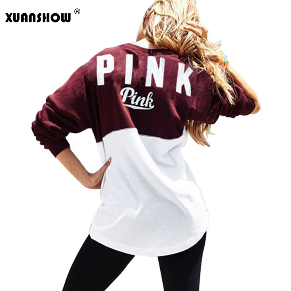 XUANSHOW Fashion Women Autumn Winter Sweatshirt Collision Color Printing Letter PINK Ladies Casual Sweatshirts Sudaderas Mujer