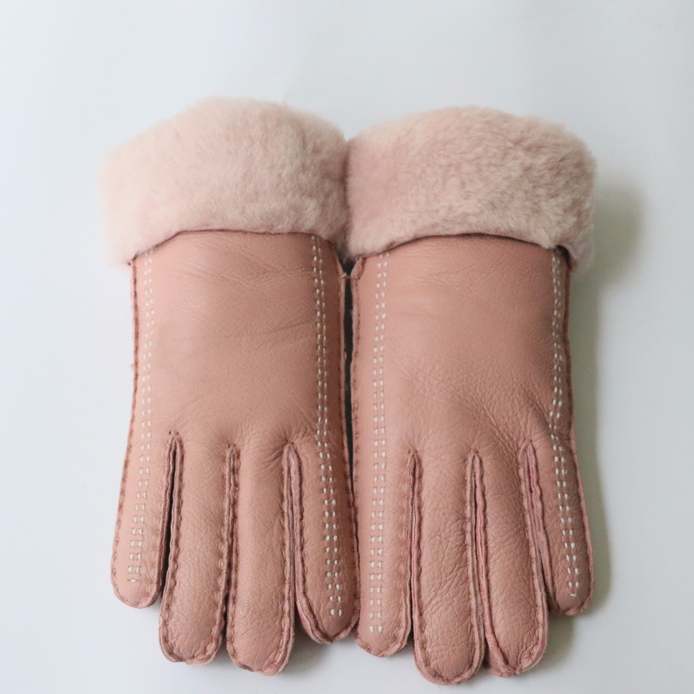 2019 Winter Warm Womens Real Goat Fur Gloves Ladies Genuine Sheep Leather Mittens Female Ski Flap Gloves Mitts With Cover Apparel Accessories