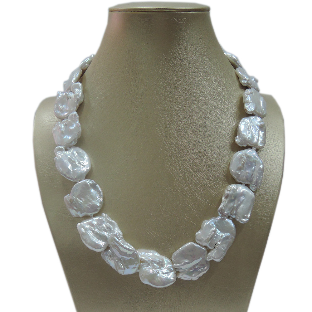 100% NATURE FRESH-WATER Baroque PEARL NECKLACE-good quanlity-925 SILIVER HOOK