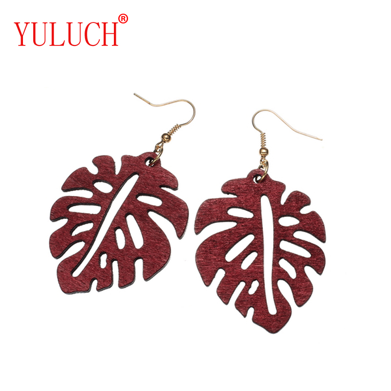 YULUCH Novelty hollow leaves pendant earrings for women fashion party jewelry girl simple earrings elegant 3 color optional