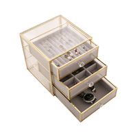 Double layer retro copper gold glass jewelry box watch earrings jewelry finishing box drawer type cosmetics storage box