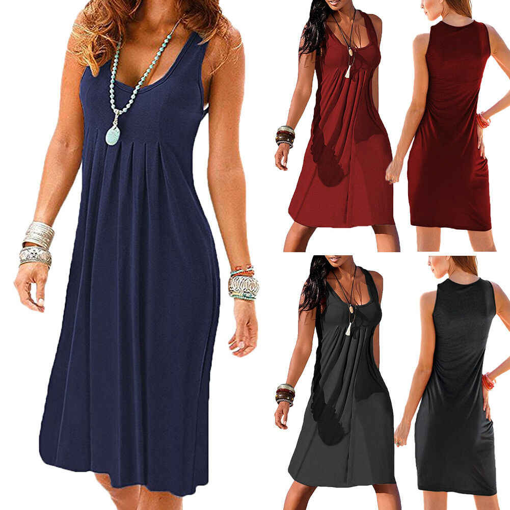Women Sleeveless Solid Casual Simple Summer  V Neck Sexy Dress Daily Clothes Comfortable Casual Flared Swing Skater Midi Dress