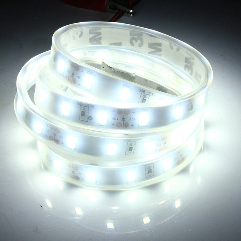 Waterproof 1M 14.4W 5630 SMD 60 LED Strip Light 12V 20-22Lm Silicone Tube Flexible Tape Lamp LED Outdoor Light Cool White
