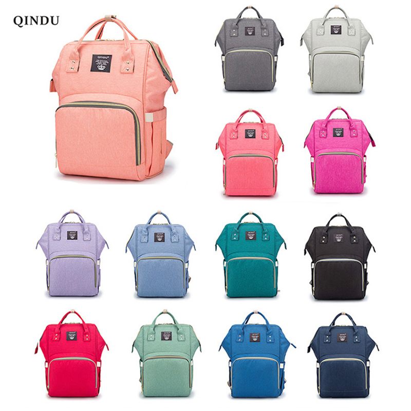 QinDu Nappy Backpack Bag Mummy Large Capacity Bag Mom Baby Multi-function Waterproof Outdoor Travel Diaper Bags For Baby Care