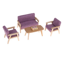 1/12 Dollhouse Living Room Furniture Kit – Purple Cloth Sofa Couch Wooden End Table Flowers Basket Set Dollhouse Accessory(China)