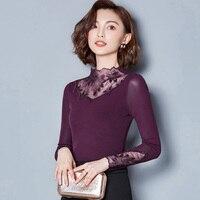 New Fashion Sexy Club Women Long Sleeve Lace Turtleneck Shirt Female Spring Autumn Slim Elastic Basic