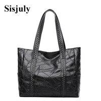 Sisjuly Large Capacity Pu Leather Handbag Women Patchwork Kniting Shoulder Bag Big Tote Casual Ladies Hand