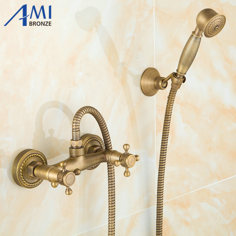 Ensemble de robinet de douche mural en laiton Antique pour salle de bainEnsemble de robinet de douche mural en laiton Antique pour salle de bain