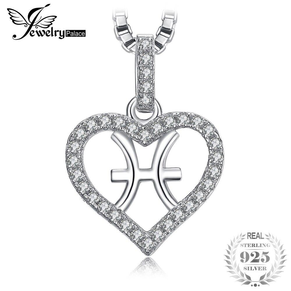 JewelryPalace constelación del zodiaco Piscis corazón amor 0.2ct Cubic Zirconia colgante collar plata 925 45 cm Cadena de caja