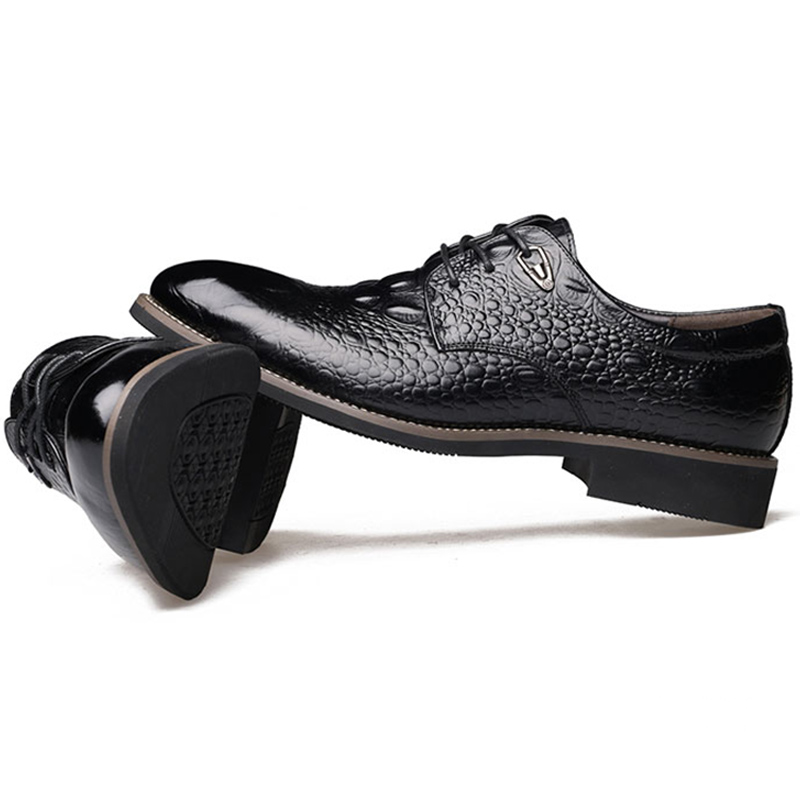 Hot Sale Italian Style Men'S Flats Shoes Luxury Brand Business Dress Crocodile Embossed Genuine Leather Wedding Oxford Shoes men shoes wedding dress italian style men oxford genuine leather lace up black flats shoes luxury brand shoes sapatos homens