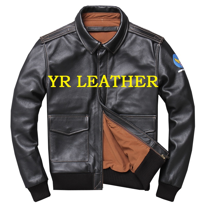YR!Free Shipping.Wholesales.Brand Classic A2 Style Genuine Leather Jacket For Man.flight Bomber Coat.plus Size Leather Jackets