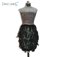 2016 New Real Pictures Black Hollow Back Custom Made Size Luxury High Collar Feather Bling Bling