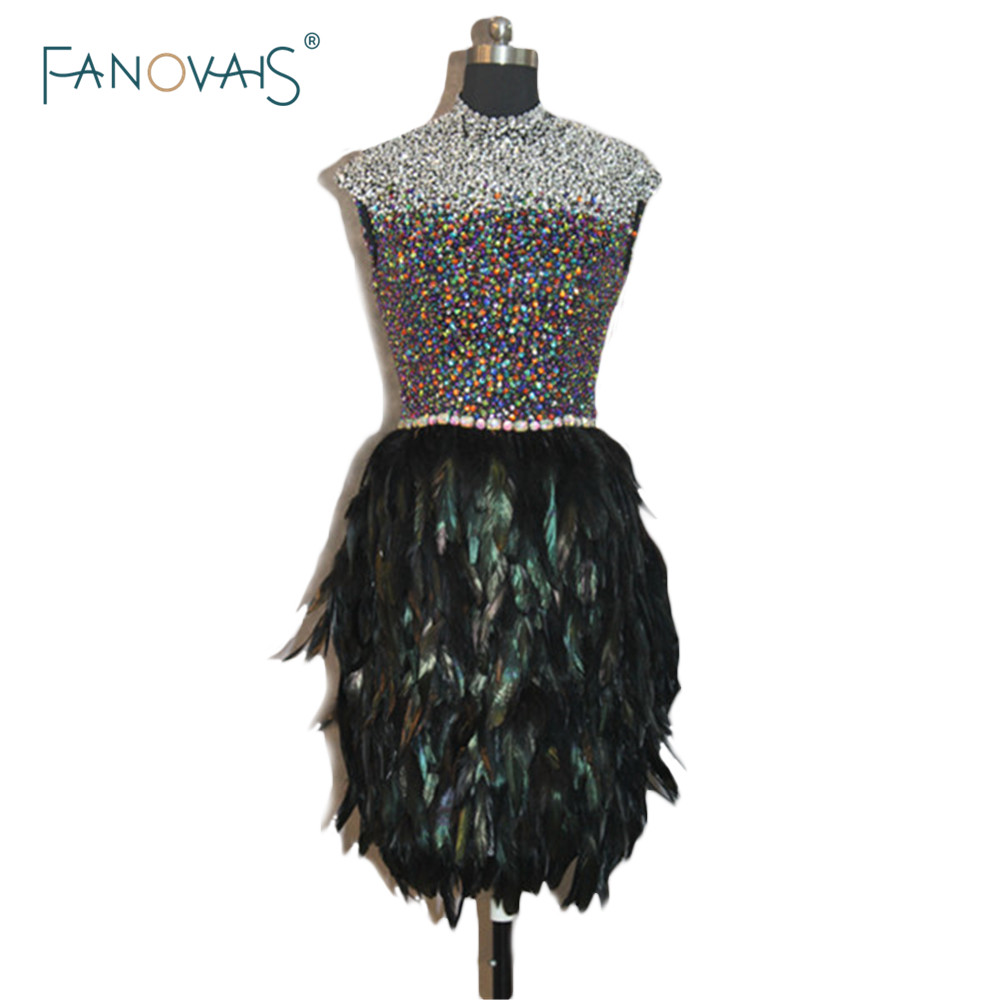 Feather Dressing Gown: Aliexpress.com : Buy Real Photo High Neck Black Custom