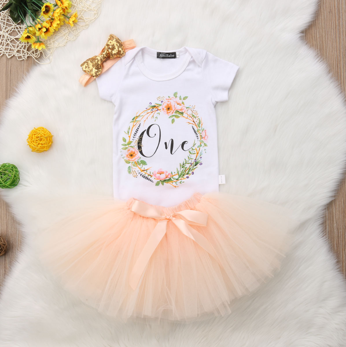 Infant Baby Girls First 1st Birthday Minnie Romper+Tutu Skirt Outfit Party Dress