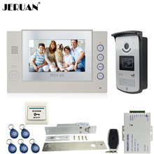 JERUAN Home Wired 7 inch TFT screen video door phone Record intercom system kit 700TVL RFID Access IR Night Vision Camera