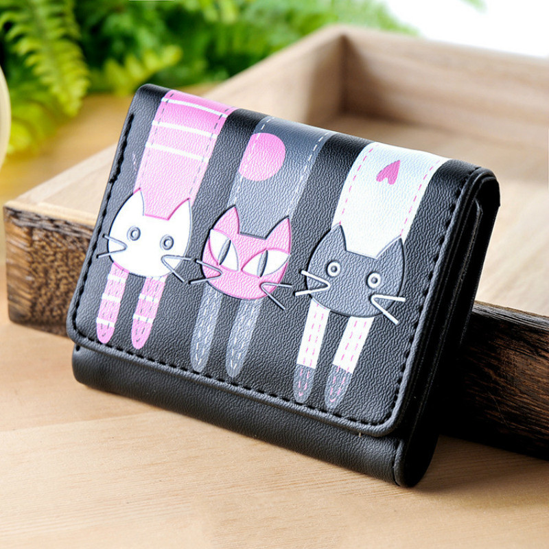 2019 Fashion Zipper Short Women Wallets Cat Pattern Luxury Brand Leather Embroidery Small Hasp Cion Purse Card Holder Handbags