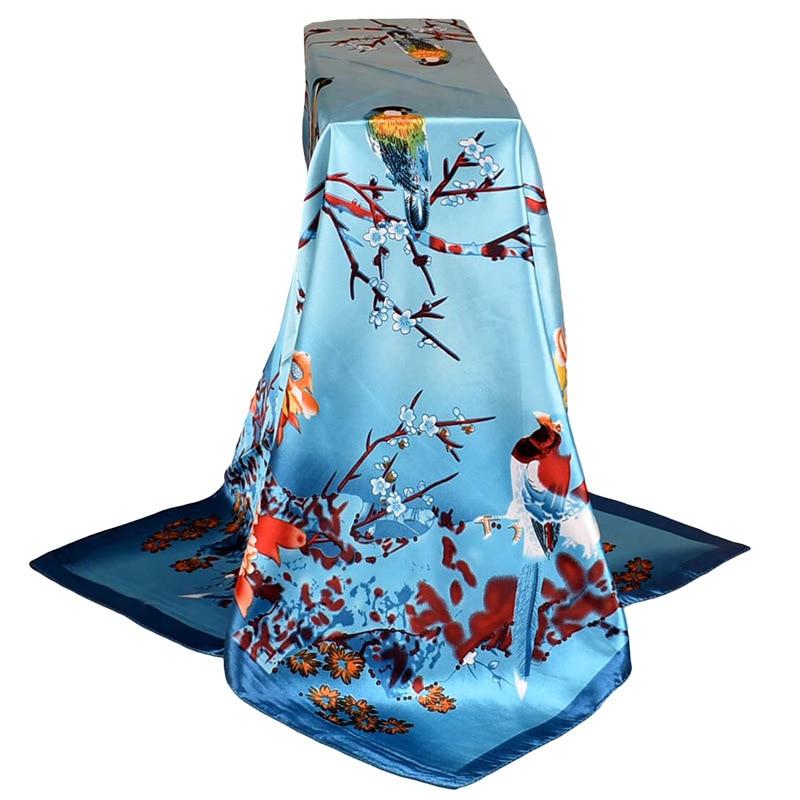 Fashion Scarves For Women Shawl Print Silk Satin Scarf Female 90cmx90cm Luxury Brand Square Hijab Shawls Head Scarfs for Ladies(China)