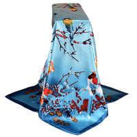 Fashion Scarves For Women Shawl Print Silk Satin Scarf Female 90cmx90cm Luxury Brand Square Hijab Shawls Head Scarfs for Ladies