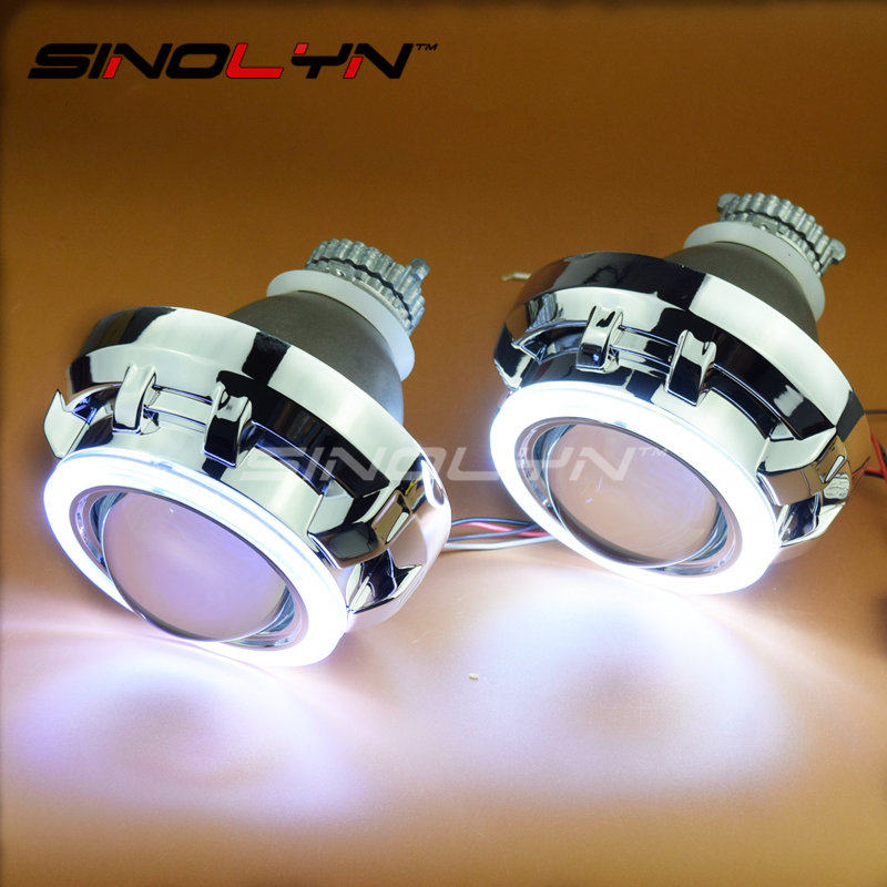 SINOLYN Car Styling Automobiles Metal 3.0 inches Q5 COB LED DRL Angel Eyes Bixenon Lens HID Projector Headlight Lamp Kit LHD RHD  car styling automobiles 3 0 metal bi xenon hid lens with led cob drl angel eyes for projector headlight h1 h4 h7