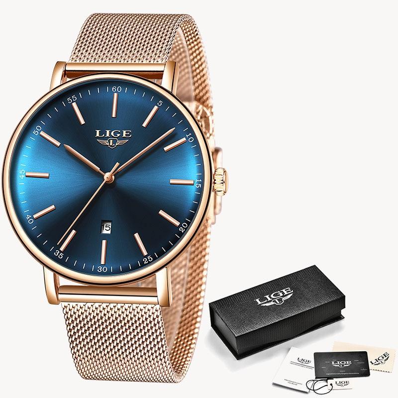 LIGE Fashion Women Watches Ladies Top Brand luxury Waterproof Gold Quartz Watch Women Stainless Steel Date Wear Gift Clock 2019 13