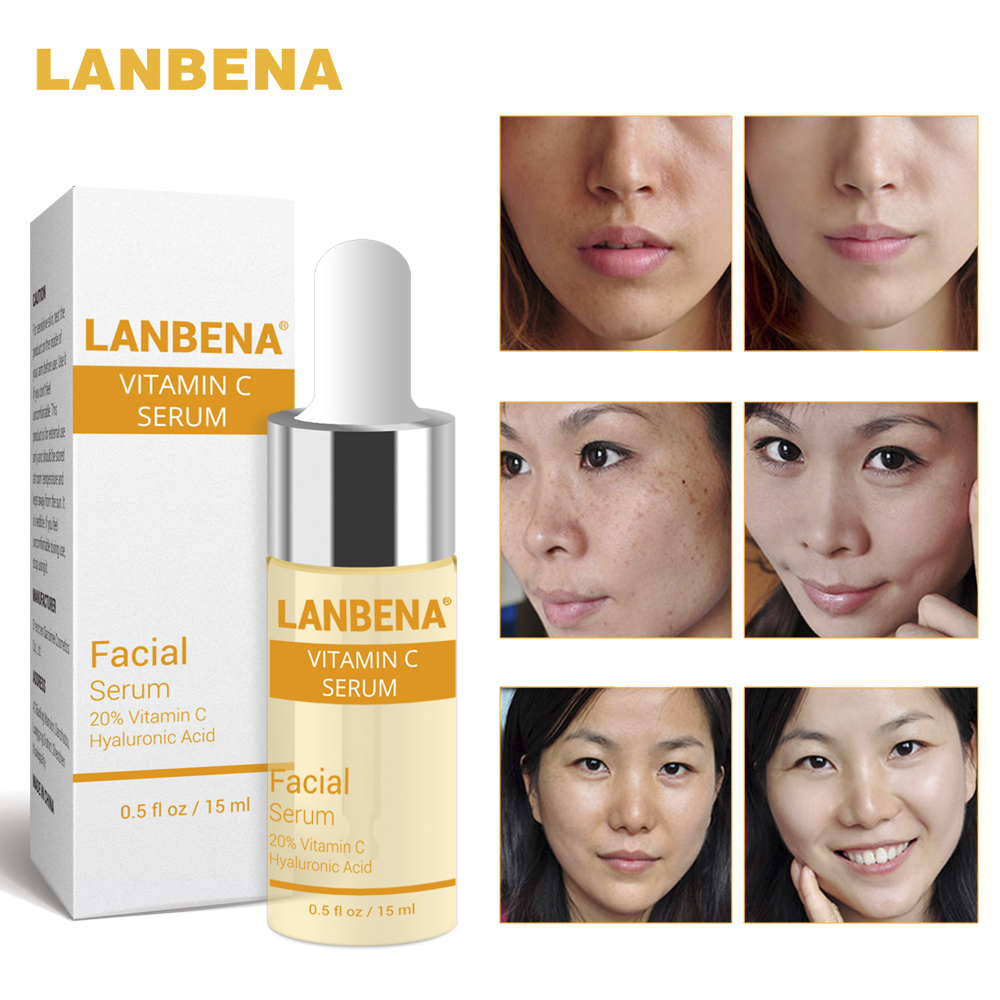 LANBENA Vitamin C Whitening Serum Hyaluronic Acid Face Cream Snail Remover Freckle Speckle Fade Dark Spots Anti-Aging Skin Care hyaluronic acid for face