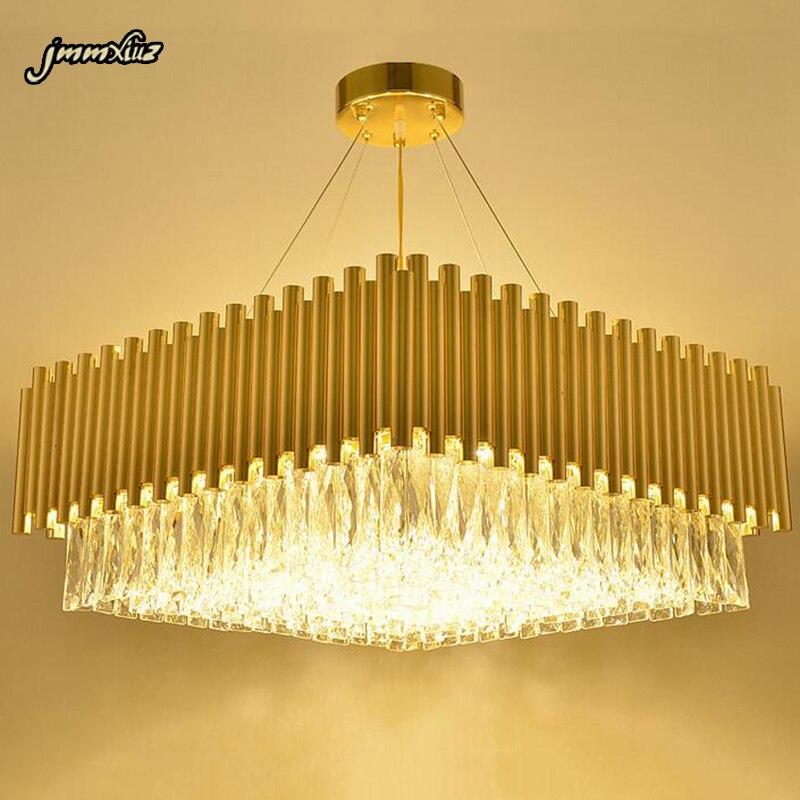 Jmmxiuz New Rectangular Pendant Lights Modern Lamp Ac110v: Jmmxiuz New Square Design Gold Chandelier LED Crystal