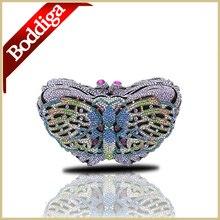 Luxus Schmetterling Gold Kristallabendhandtasche Frauen Strass Kupplungen Geldbörsen Kleine Handtasche Lange Kette bolsos