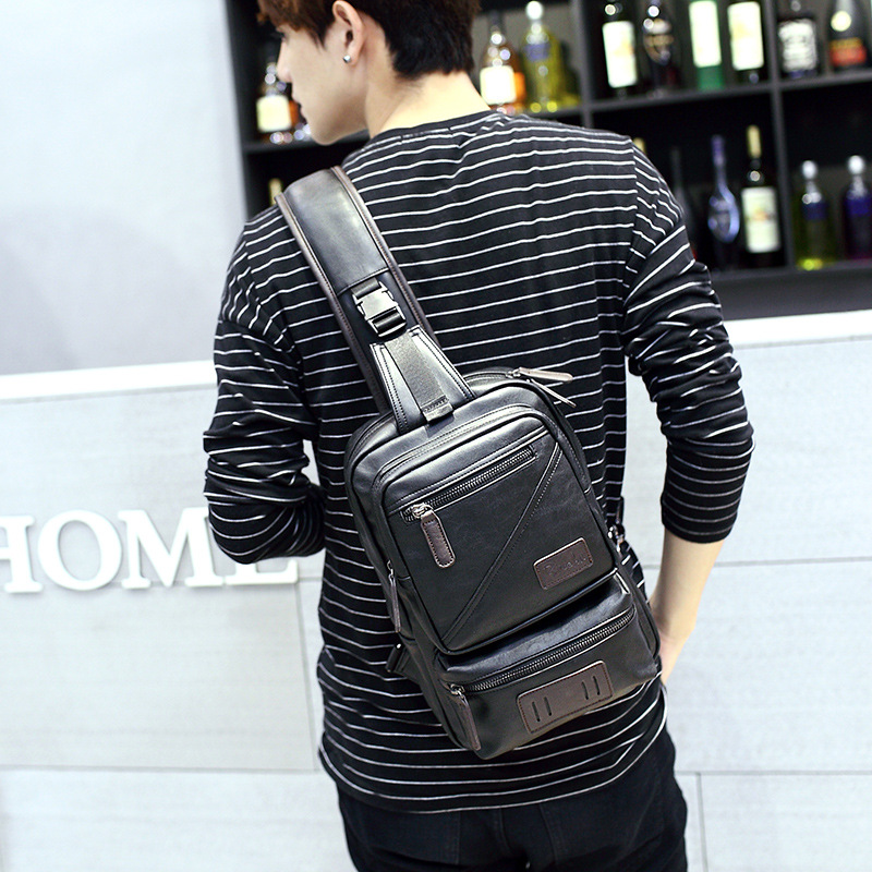 New Fashion Men Messenger Bags Casual Mens Leather Chest Bags Big Crossbody Shoulder Back Pack