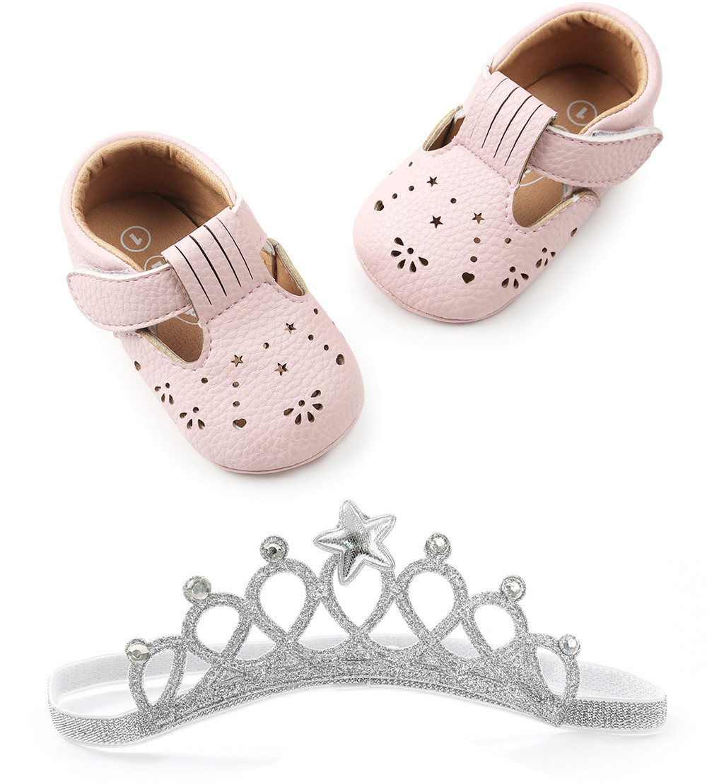 Купить с кэшбэком Infant Baby Shoes For Girl Bling Flower Leather Princess Shoes Soft Sole Toddlers Prewalkers + Butterfly-knot Headband Wholesale