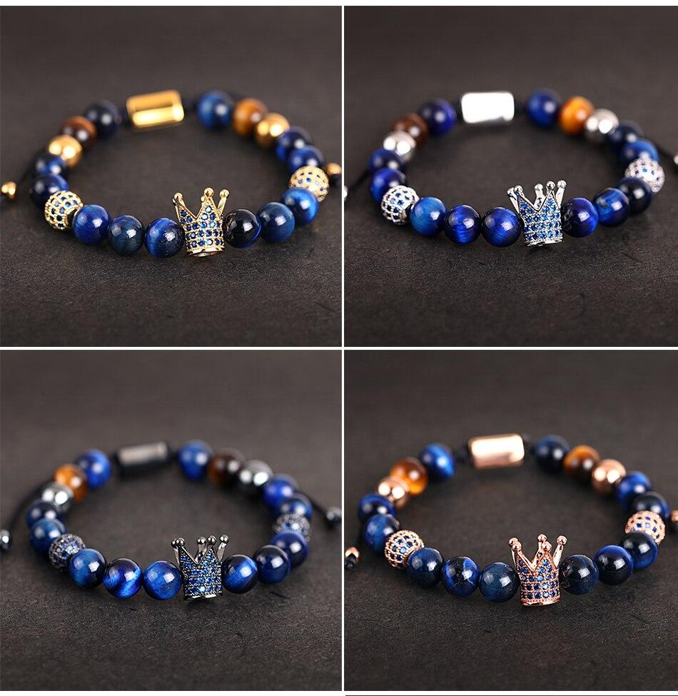 HTB1iuj.MNnaK1RjSZFtq6zC2VXaZ Crown Ball Pave Setting Zircon Beads Braided Bracelet Bangle Jewelry
