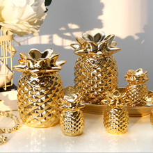 Nordic European luxury golden ceramic pineapple ornaments decoration living room Wine cooler Home craft