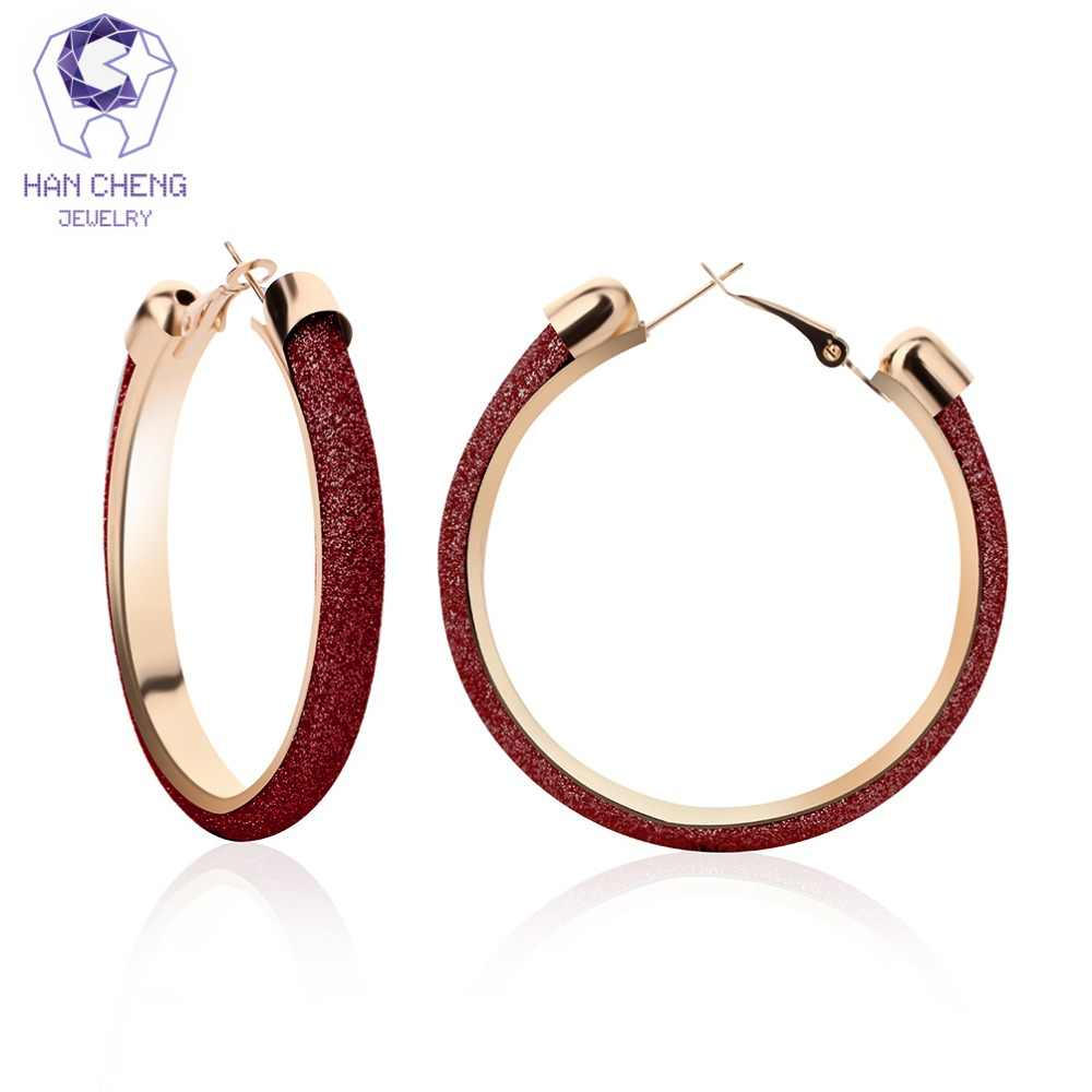 HanCheng New Fashion Simple Classic Loop Ribbon Golden Plated Circle Round Big Hoop Earrings For Women Jewelry brincos bijoux